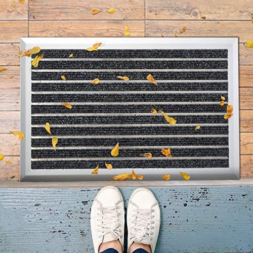 etm Aluminium Fußmatte | Türvorleger mit Alu-Rahmen und Einlage nach Wahl | wetterfest für außen und innen | Teppich Rips Medium (39x60 cm)
