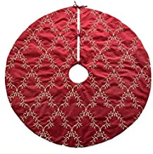Homey COZY 56 inch Large Christmas Tree Skirt,Red and Gold Floral Vine Luxury Embroidered Velvet Christmas Decoration - Holiday Wreath
