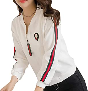 EnergyWomen Pockets Zip Striped Slim Stand Collar Patched Outwear Coat