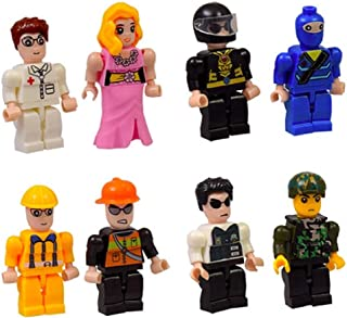 My Blox Set of 4 Toy Characters; Fireman/Construction, Space/Ninja, Military/Policeman, Girl/Doctor Toy Block People Mini Figures Lot of 4. Bundled Set. Ages 6+