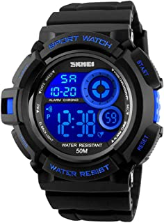 Mens Military Multifunction Digital Watches 50M Water Resistant Electronic 7 Color LED Backlight Black Sports Watch
