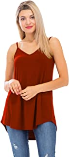 Women's Loose Fit Reversible V-Neck Scoop Neck Spaghetti Cami Top