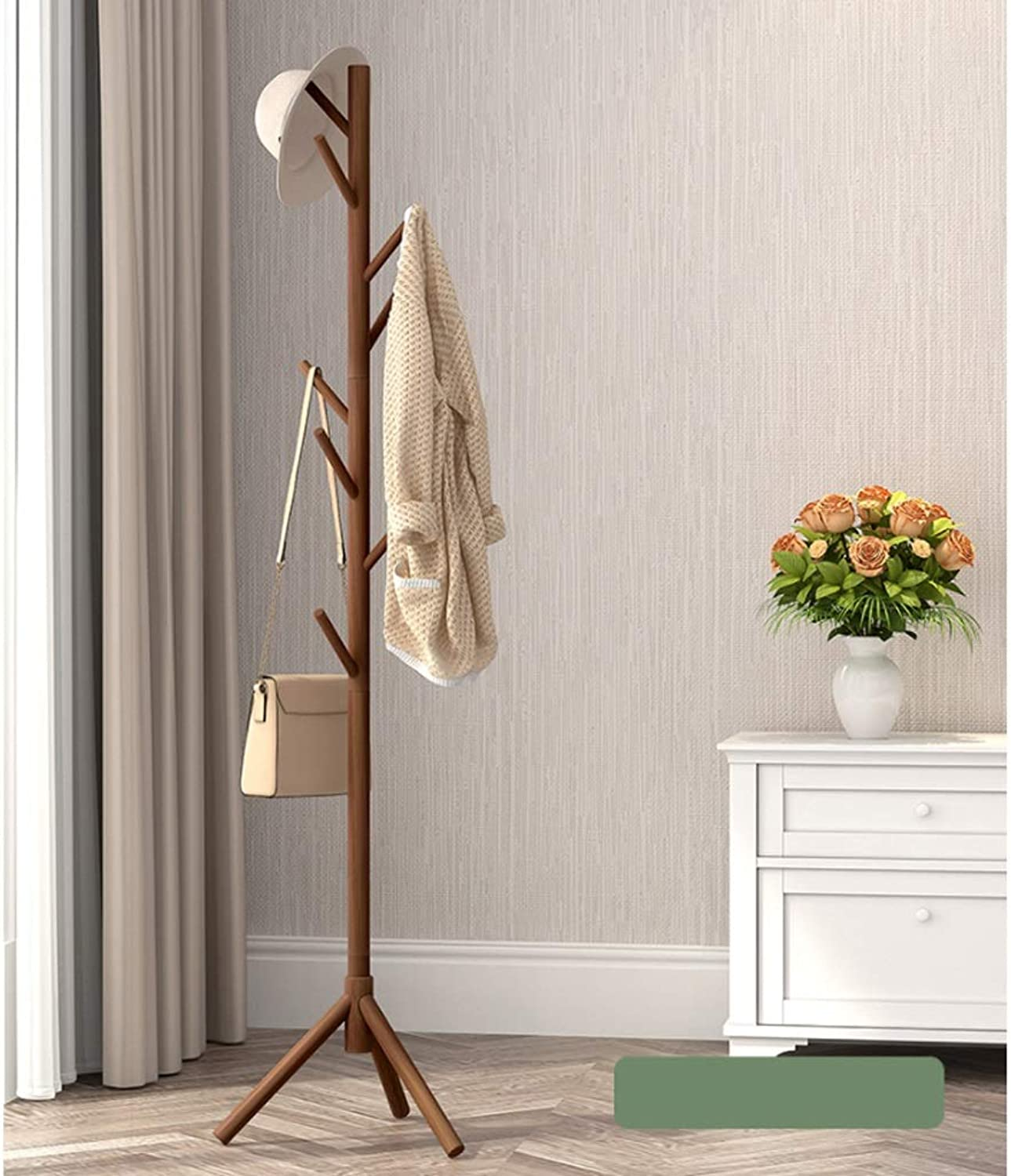 Clothes Stand Floor Bedroom Hanger Coat Rack Simple Clothes Shelf Solid Wood Bag Rack Simple Modern Single Pole with 8 Hooks for Clothes Scarves and Hats 175CM(H) Coat Rack (color   G)