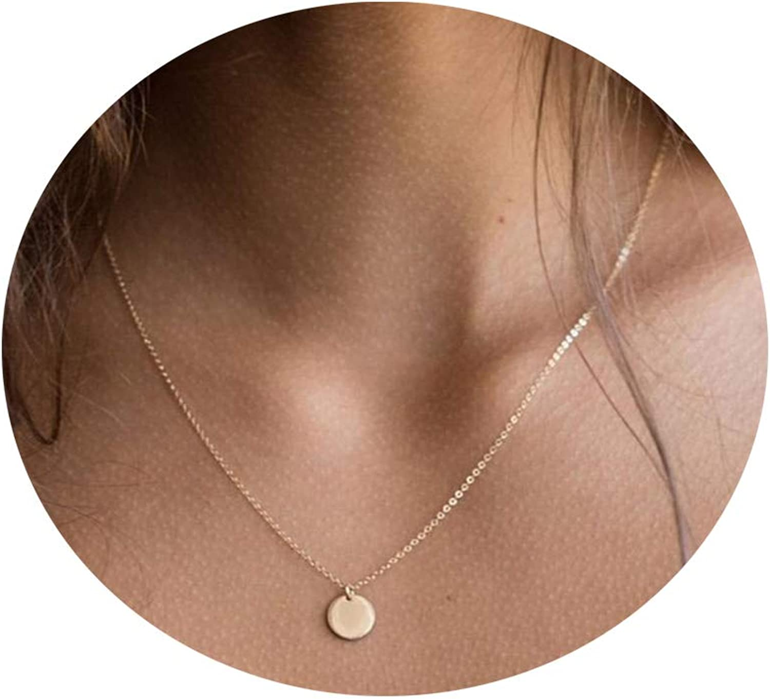 Vavily 14K Gold Dainty Coin Necklace Simple Disc Tiny Bar Pendant Choker Necklace Delicate Tiny Necklace for Women Girls