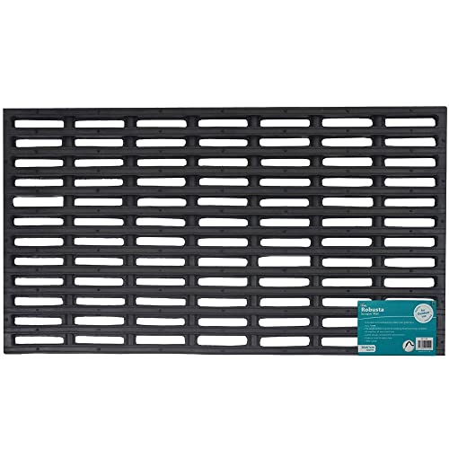 JVL Robusta Heavy Duty Rubber Link Entrance Door Mat, Plastic, Black, 36 x 61 cm