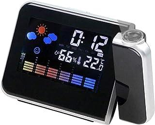 JeeKoudy Despertador com projeção de LED, temperatura, hora, data, projetor, carregador USB - preto