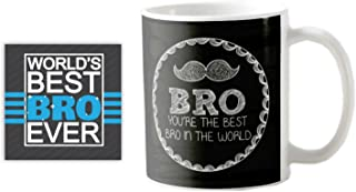 YaYa Cafe™ Brother Moustache Brst Bro in The World Quote Printed Mug 330 ml Birthday Gifts Birthday Bhaidooj