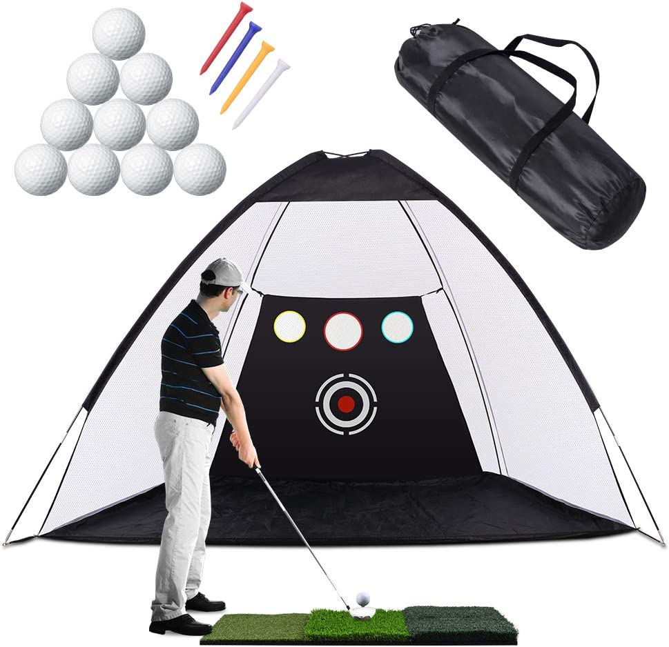 Golf Practice Net, 10 x 7ft Golf Hitting Net Sets with Chipping Target Pockets, Golf Training Aids Practice Net Set - 3 in 1 Foldable Golf Mat -10 Golf Balls - 4 Golf Tees, Indoor and Outdoor Golf : Sports & Outdoors
