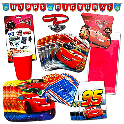 Disney Cars Party Supplies Ultimate Set - Birthday Party Decorations, Party Favors, Plates, Cups, Napkins, Table Cover and More!