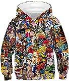 KamiraCoco Niños Sudaderas con Capucha de Los HD Colorido 3D Imprimieron el suéter para Niño Niñas Pullover Hoodie (XS)