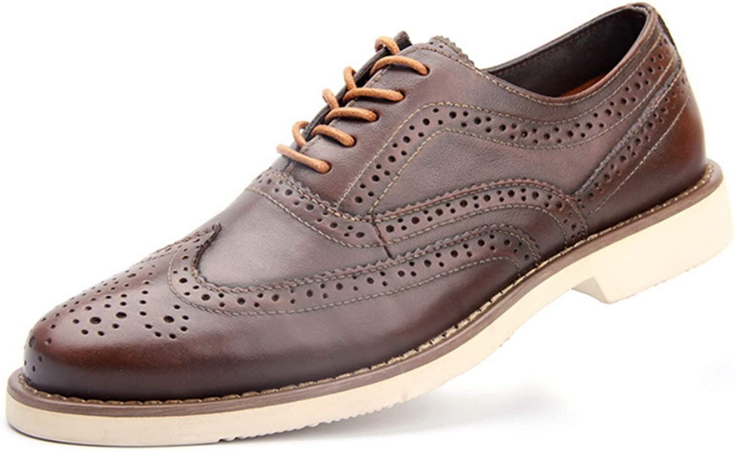 Shiney Men's Genuine Leather Business Casual shoes Brock Carved Hollow Retro Breathable Low-Cut Tooling shoes