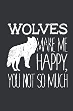 Notebook: Wolves Make Me Happy You Not So Much Wildlife Journal & Doodle Diary; 120 White Paper Numbered Plain Pages for Writing and Drawing - 6x9 in.