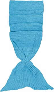 MagiDeal Soft Large Hand Crocheted Mermaid Tail Blanket,Knitted Mermaid Throw Blankets for Adults, Sofa Car Camping Bed Sleeping Bag, 180cm - Blue, 80x180cm