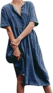 Iuhan Clearance Sale Womens Casual Shirts Dress, Women Button Pure Color Short Sleeve Cotton Linen Easy Dress