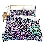 Loussiesd - Juego de ropa de cama con estampado de leopardo de...