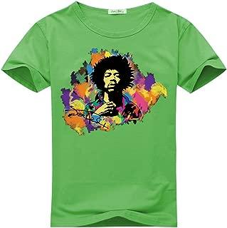 Jimi Hendrix Watercolor Logo For Women's Printed Short Sleeve Tee Tshirt Small Green