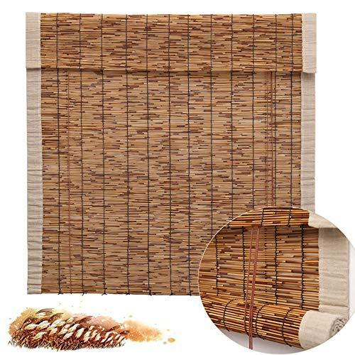 Double east Persiana Enrollable de bambú 80/90/110/120 cm,Estor Enrollable para Interiores Estores Caña Natural,Persianas De Bambú Exterior