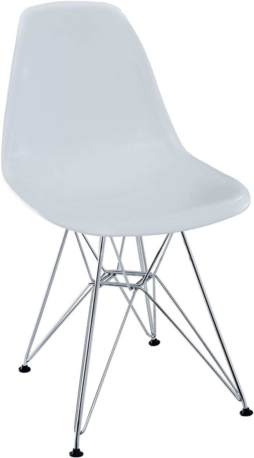 Modway Plastic Side Chair in White with Wire Base