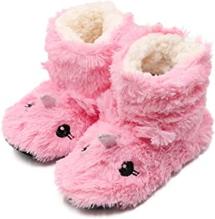 Girls/Kids Cute Unicorn Slipper Socks Winter Warm Plush Fleece Colorful Slip-on Booties Indoor (Little Kid)