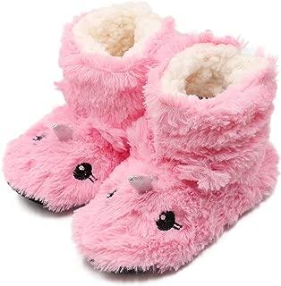 Girls/Kids Cute Unicorn Slipper Socks Winter Warm Plush Fleece Colorful Slip-on Booties Indoor (Little Kid)