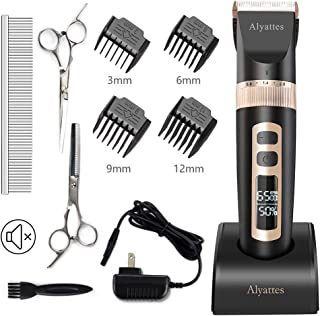 Alyattes Dog Clippers Shaver Professional Dog Grooming Kit Low Noise Rechargeable Cordless Electric Pet Hair Clippers with Detachable Blades Comb Scissors Guides for Dogs Cats Pets