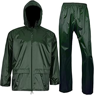 Rain Jacket with Pants for Men Women Waterproof Rain Coat 3-Pieces Ultra-Lite Suits (Large, Dark Green)
