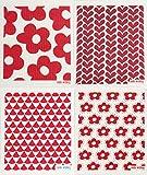 Trendy Tripper Swedish Dishcloths/Sponge Cloths - Packs of 4 Different Designs in RED (4 Red: Blommors/Cirkus/Fiddeli/Hearts)
