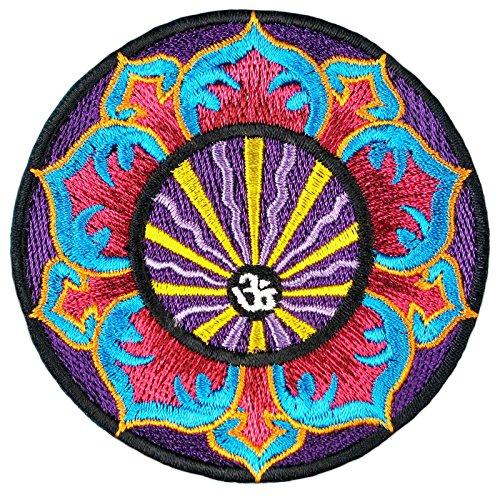 Parche con diseño de mandala de Aum, para planchar o planchar, diseño de flor de loto, Buda, yoga, esotérico, India