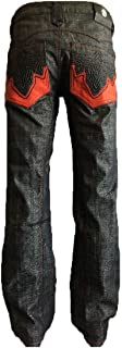Men's Indigo Blue Western Bootcut Embroidered Red Pocket Jeans (42 x 34)