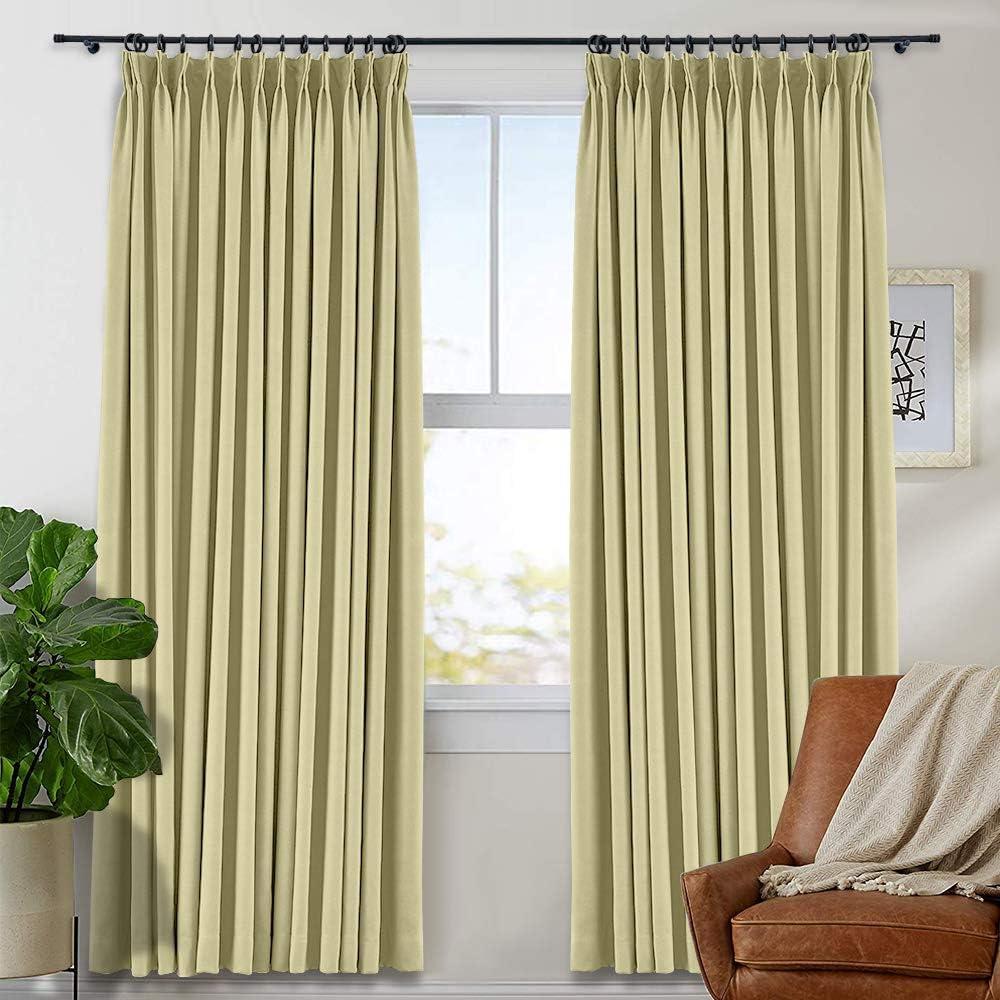 TWOPAGES Pinch Pleated Curtain Room Curta Darkening 激安通販販売 Window 安値 Drape