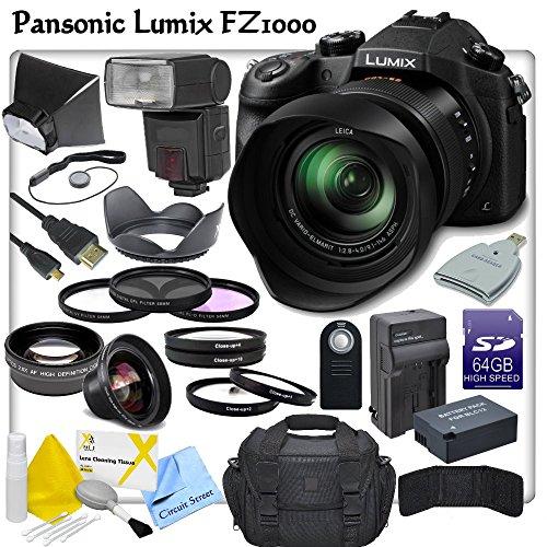 Panasonic LUMIX DMC-FZ1000 Digital Camera with CS Pro Lens Package: Includes TTL Shoe Mount Flash, High Definition Wide