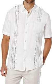 COOFANDY Men's Short Sleeve Linen Shirt Cuban Beach Tops Pocket Button Down Shirts