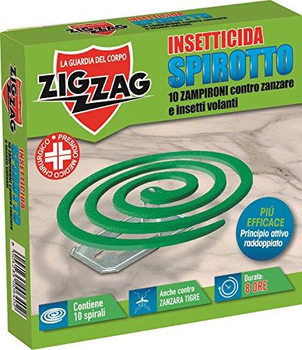 Zig Zag, Spirotto, Insetticida a spirale per esterno, durata 8 ore, utile contro zanzare, zanzare tigre, pappataci, confezione da 10 spirali
