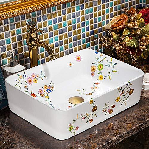 Gorheh Rechteckige Europa Vintage Style Keramik Waschbecken Zähler Oben Waschbecken Bemalte Keramikspüle
