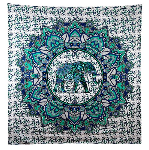 Turquoise Green Elephant Tapestry Wall hanging Elephant Tapestries Hippie Tapestry Mandala Tapestries Wall Tapestries Bohemian Tapestries in Teal Aqua Indian Tapestry Wall Hanging by Jaipur Handloom