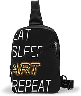 Eat Sleep Art Repeat Bolso Bandolera De Hombre Bolso Cruzada Hombre Bolsa De Pecho Sling Bag Crossbody Para Al Aire Libre ...