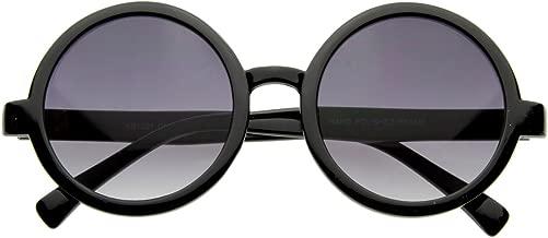 Cute Mod-era Vintage Inspired Round Circle Sunglasses (Shiny Black Lavender)