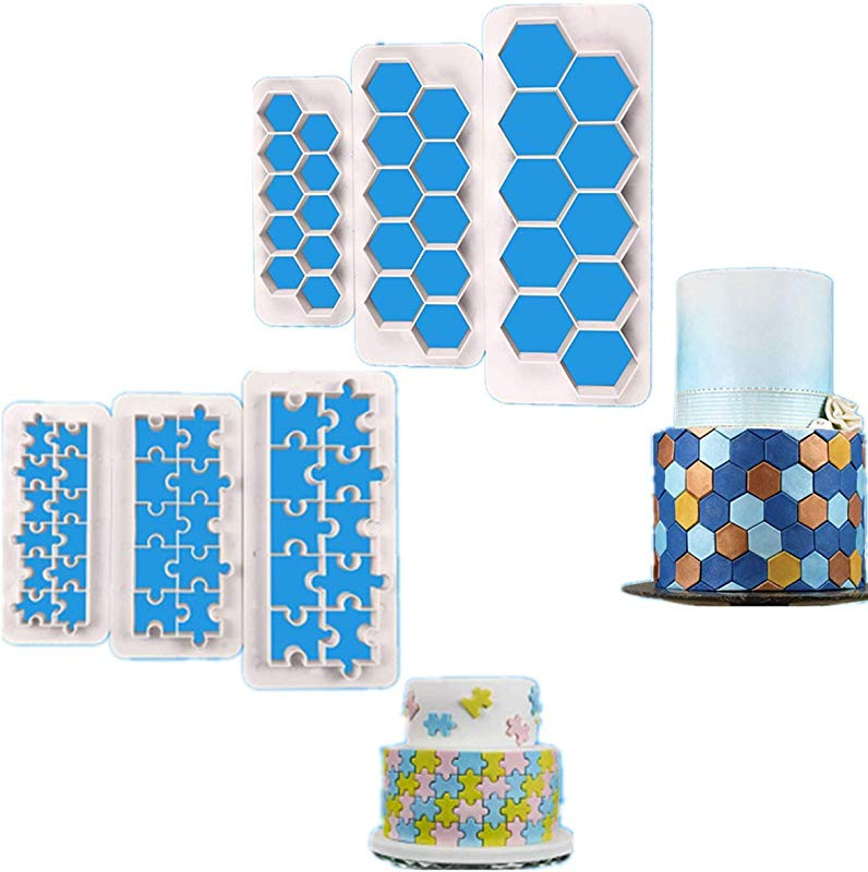 Hexagon And Puzzle Cookie Cutter Football And Puzzle Cake Fondant Cutter 3 Size Fun Shape Biscuit Cutters Novel Creative Cake Decorating