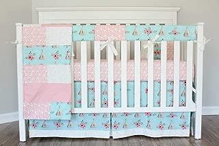 5 Piece crib baby bedding set TeePee Coral Cream Nursery Ready to ship