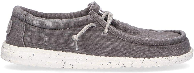Hey Dude Men's WALLYDGREY Grey Fabric Loafers