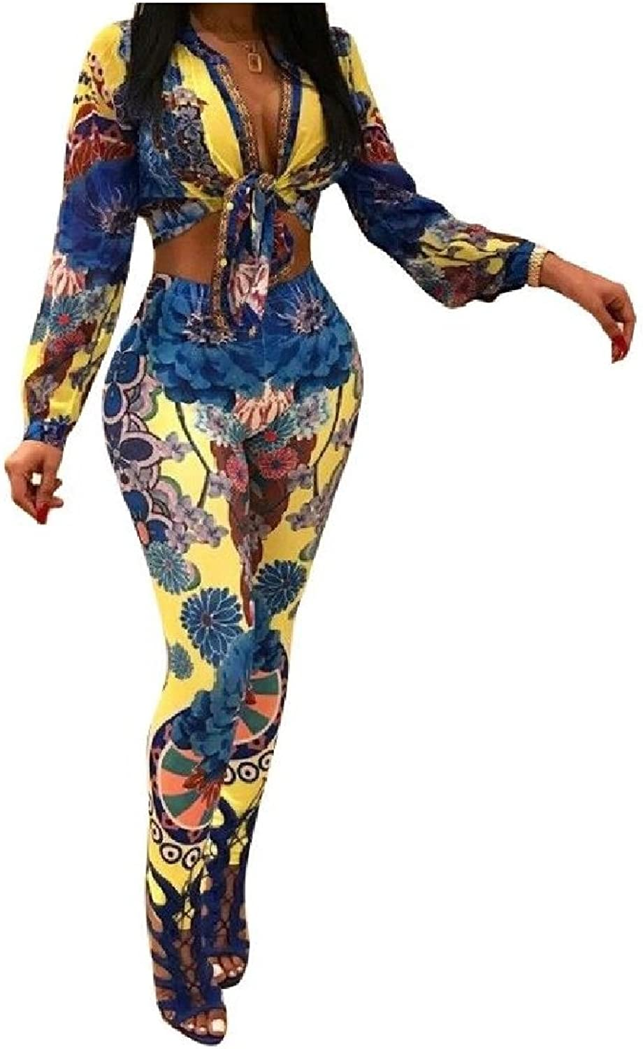 Colourful Women's 2 Pieces Print LongSleeve Sexy Pencil Pants Playsuit Outfit