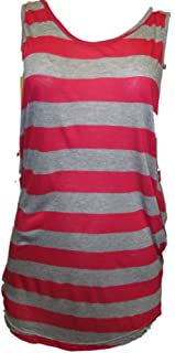 Alternative Apparel Womens Tank Top Striped Fuchsia Heather Grey S/M