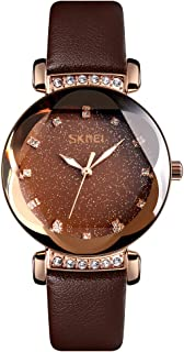 TONSHEN Fashion Luxury Stainless Steel Watch for Women and Girl Polygonal Crystal Business Casual Dress Elegant Watches with Leather Band Multiple Colour (Light Brown)