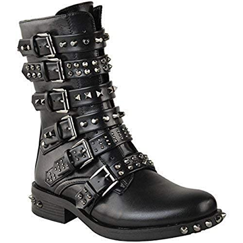21aaceba929e Fashion Thirsty Womens Ladies Studded Ankle Boots Buckle Western Biker  Strappy Flat Shoes Size