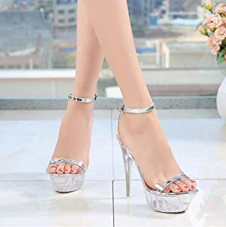 Women Crystal Platform Sandals, Transparent Heel Pumps Ankle Bride Wedding Day Evening Sandals
