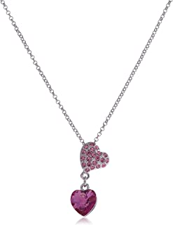 Swarovski Elements 18K White Gold Plated Necklace EncrUSted With Pink Swarovski Crystals, Swr-397, For Women