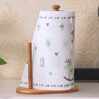 ZOUJIN Natural Bamboo Dispenser Counter Kitchen Tissue Holder Roll Paper Stand Towel