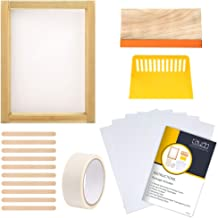 Caydo 19 Pieces Screen Printing Starter kit Include 10 x 14 Inch Wood Silk Screen Printing Frame with 110 White Mesh, Screen Printing Squeegees, Waterproof Inkjet Transparency Film and Mask Tape