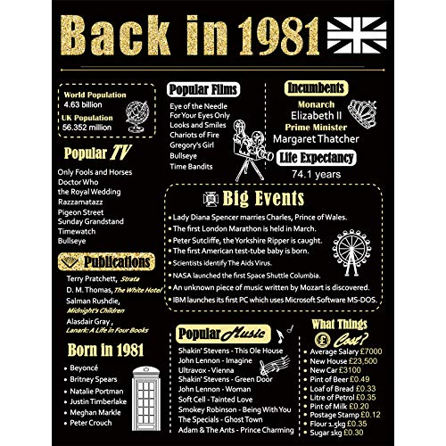 Back in 1981 Poster UK Happy 40th Birthday Party Decoration Elegant Gift 40...