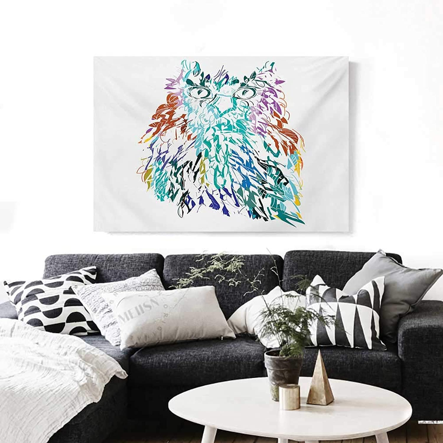 BlountDecor Owl Canvas Wall Art for Bedroom Home Decorations Owl with Fluffy Swollen colorful Feathers Large Eyes Vision Sage Camouflage Character Image Art Stickers 48 x32  Multi